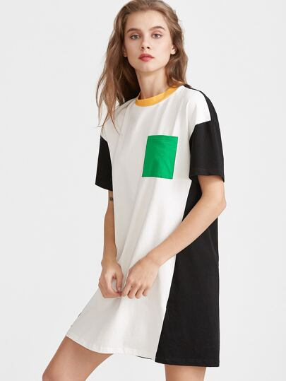 Contrast Patch Pocket Front Tee Dress