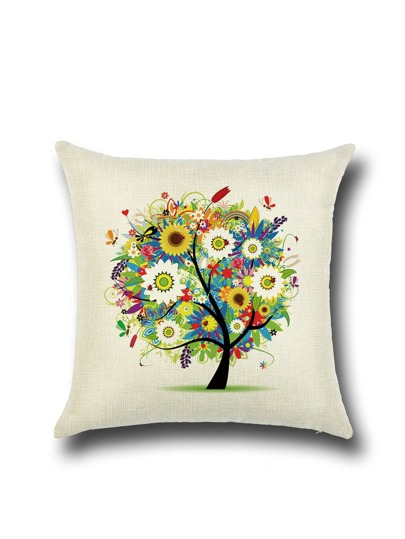 Beige Graffiti Tree Linen Square Cushion Cover