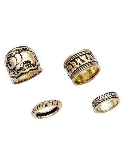 Antique Gold Engraved Ring Set