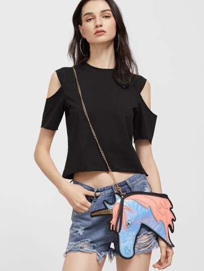 Blue PU Leather Unicorn Shaped Crossbody Chain Bag