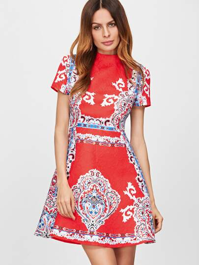 Red Vintage Print Jacquard Structured Skater Dress