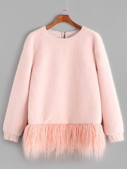 Pink Faux Fur Trim Fluffy Fleece Sweatshirt