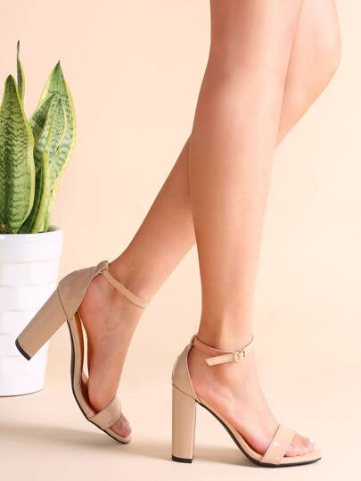 Nude Patent Leather Open Toe Ankle Strap Heeled Sandals