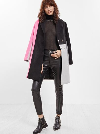 Color Block Hidden Button Back Belted Coat
