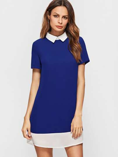 Royal Blue Contrast Collar And Hem Short Sleeve Dress