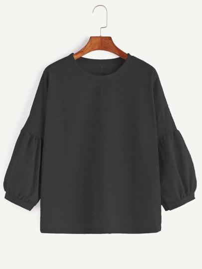 T-shirt Drop Schulter Latrene Ärmel-schwarz
