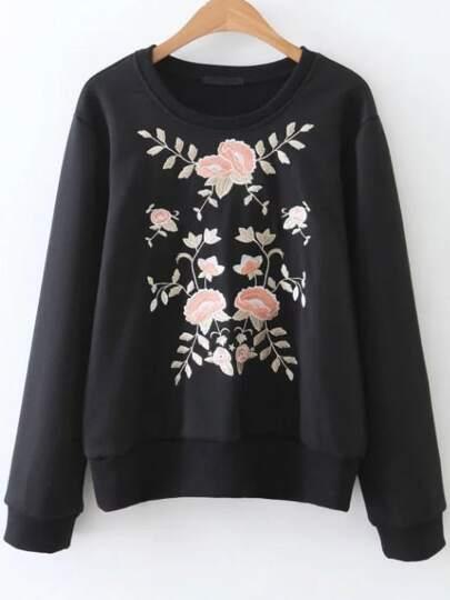Black Flower Embroidery Ribbed Trim Sweatshirt