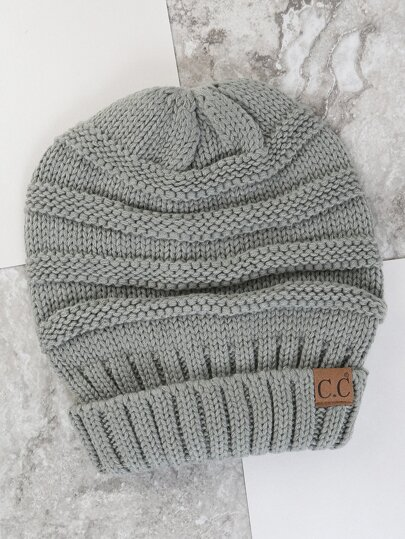 Thick Knit Chunky Beanie GREY