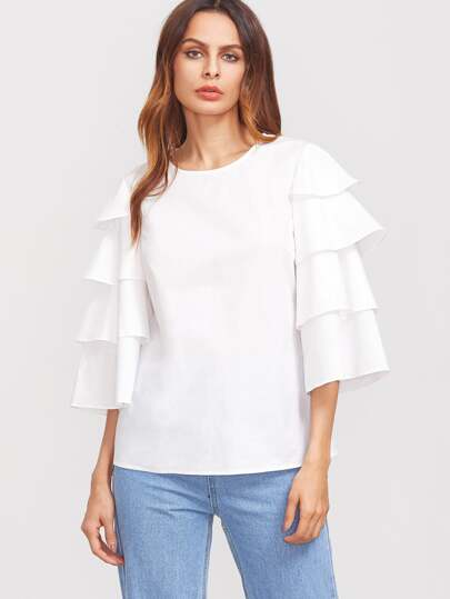 White Layered Bell Sleeve Buttoned Keyhole Back Blouse