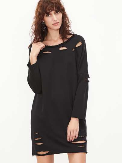 Black Raw Trim Drop Shoulder Distressed Sweatshirt Dress