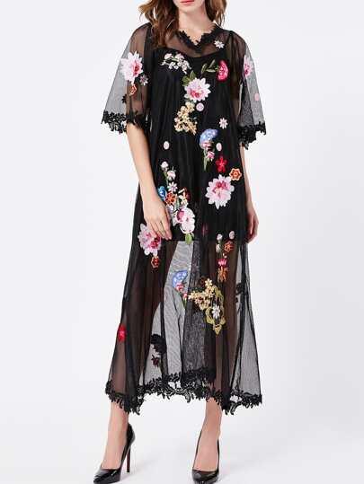 Black V Neck Sheer Gauze Embroidered Maxi Dress