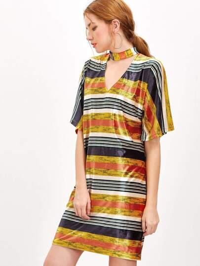 Robe brillant à rayure à encolure ras-du-cou découpé -multicolore
