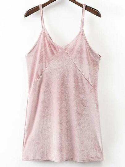 Pink Velvet Mini Cami Dress