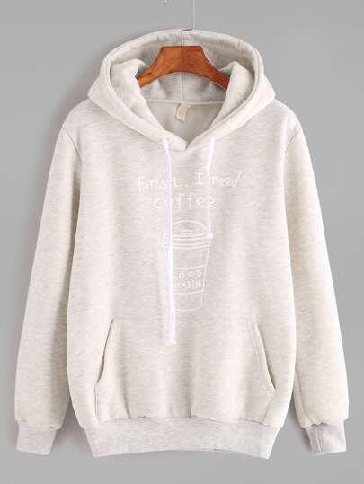 Sudadera de capucha con estampado y bolsillo - gris