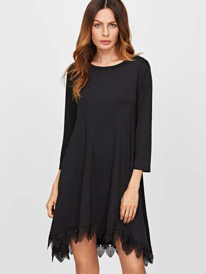 Black Lace Trim High Low Swing Dress