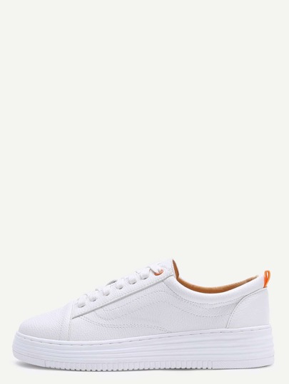 White Faux Leather Rubber Sole Lace Up Sneakers