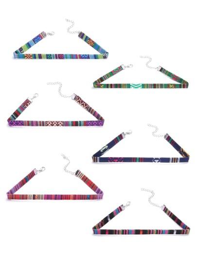 Multicolor Print Skinny Choker