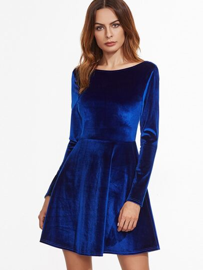 Royal Blue Scoop Back Velvet Skater Dress