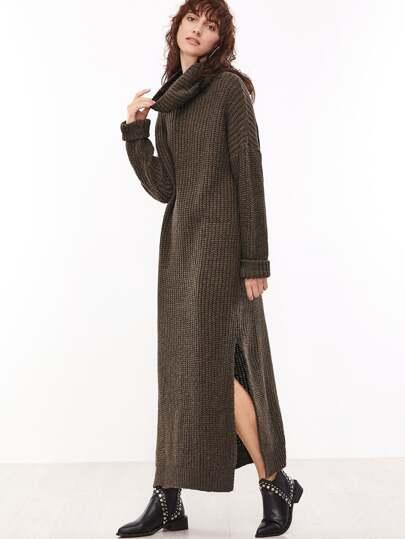 Brown Cowl Neck Drop Shoulder Slit Side Sweater Dress