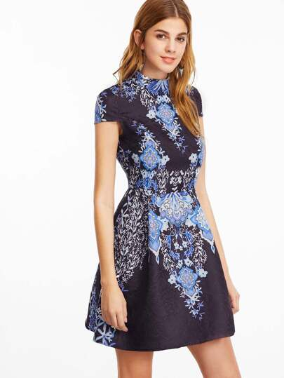 Navy Floral Print Cap Sleeve Structured Jacquard Dress