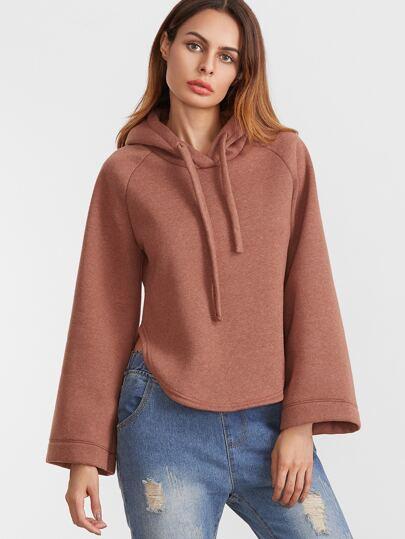 Rust Hooded Raglan Sleeve Slit Side Curved Hem Sweatshirt