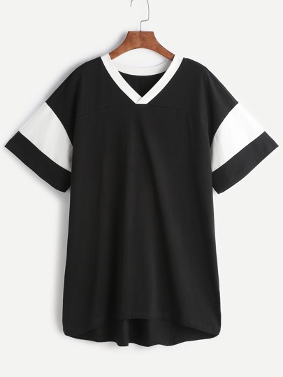 Black Contrast V Neck And Sleeve Tee Dress