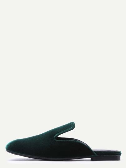 Dark Green Square Toe Velvet Loafer Slippers