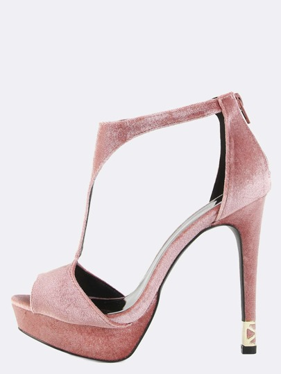 Engraved Metallic Velvet T-Strap Heels BLUSH