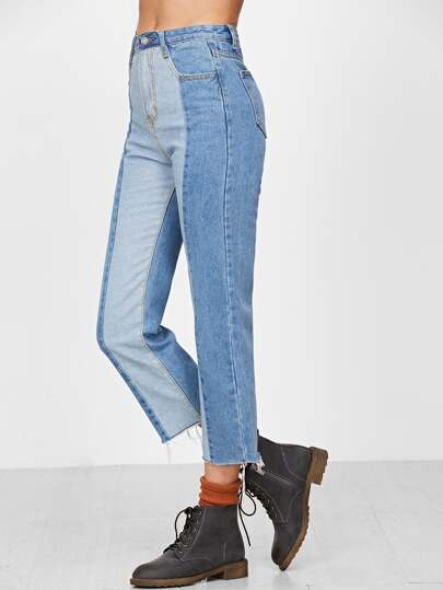 Blue Contrast Raw Hem Straight Jeans