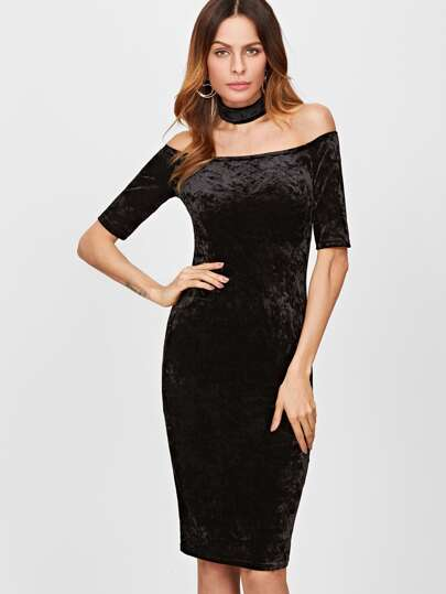 Black Off The Shoulder Velvet Pencil Dress With Choker