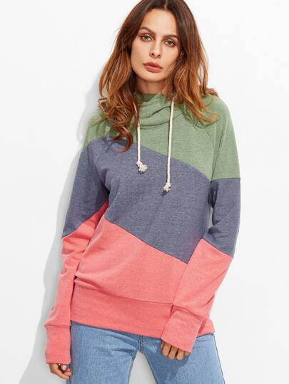 Color Block Cut And Sew Raglan Sleeve Hoodie