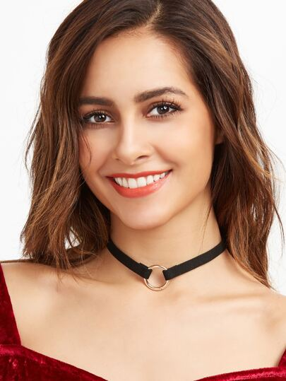 Black Ring Accent Velvet Choker
