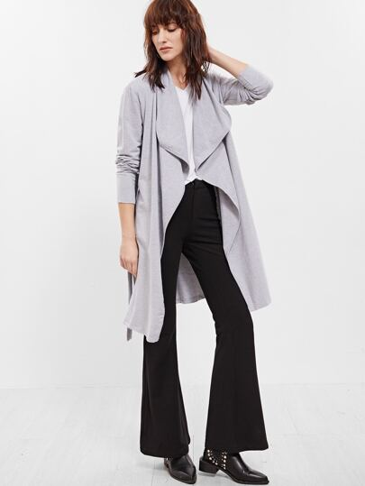Veste col drapé avec ceinture - gris