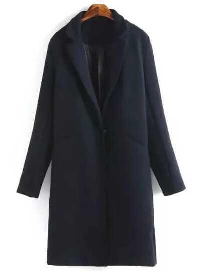 Navy Slit Back Lapel Coat