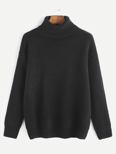 Jersey con cuello alto hombro caído - negro