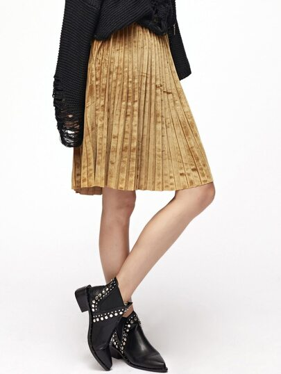 Gold Elastic Waist Pleated Velvet Skirt
