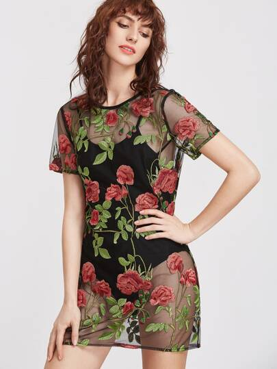 Black Flower Embroidered Sheer Mesh Dress With Cami Bodysuit