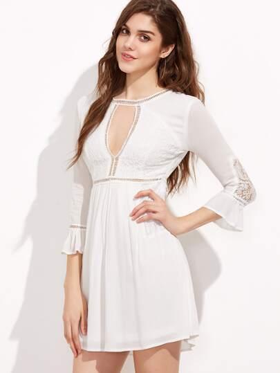 White Cut Out Ruffle Sleeve A Line Dress