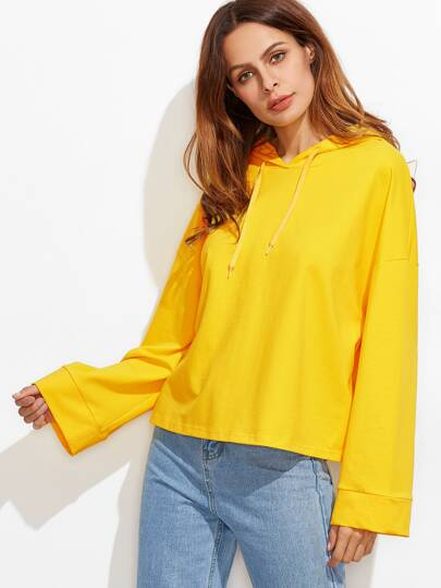 Yellow Drop Shoulder Kimono Sleeve Hoodie