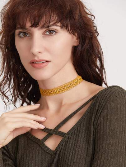 Yellow Hollow Out Lace Choker Necklace