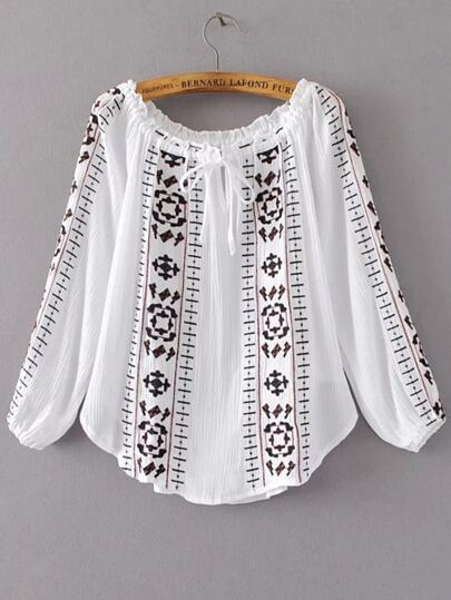 White Embroidery Ruffle Off The Shoulder Blouse