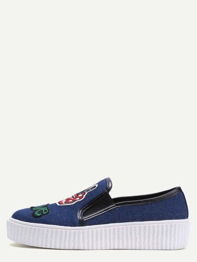 Blue Embroidery Patch Flatform Sneakers