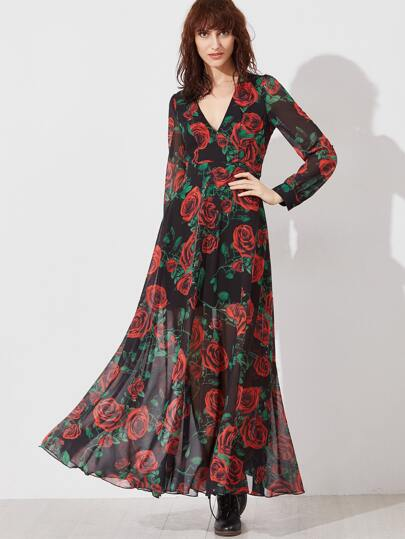 Black Rose Print Deep V Neck Long Sleeve Maxi Dress