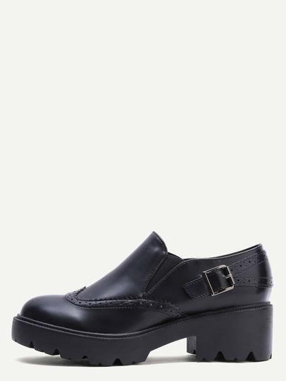 Black Wedge Heel Wingtip Low Top Shoes