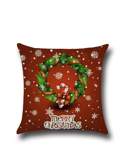 Red Christmas Graffiti Linen Square Pillowcase Cover