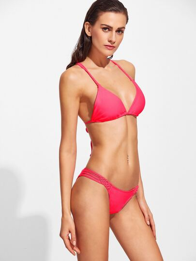 Red Triangle Strappy Bikini Set