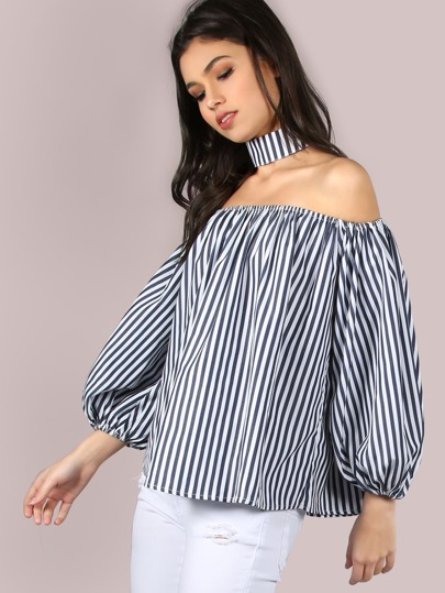 Off The Shoulder Stripe Flow Top NAVY