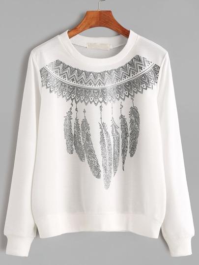Weiß Ribbed Trim Tribal Print Sweatshirt