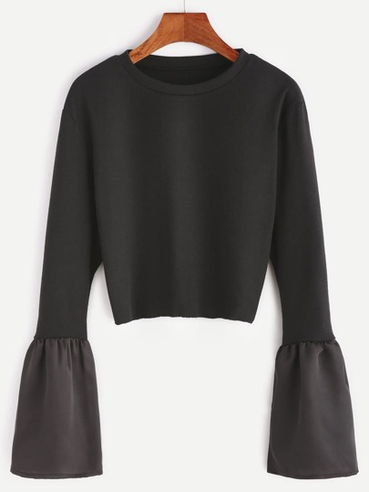 Black Contrast Bell Sleeve Ribbed T-shirt