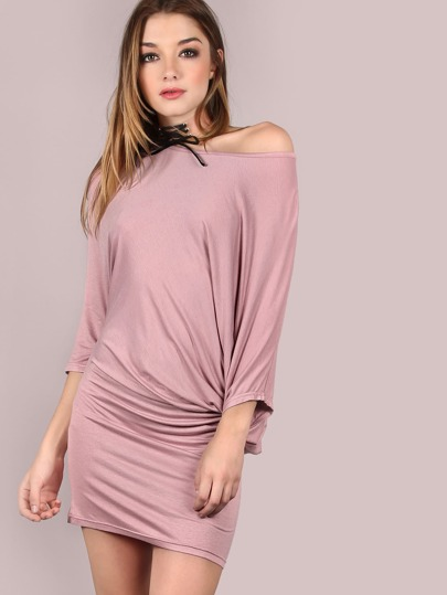 Purple Asymmetric Shoulder Dolman Sleeve Dress